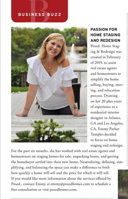 Emmy Parker Temples and Posed. Home Staging & Redesign was featured in the Business Buzz column in the September 2019 edition of Elegant Island Living magazine on Saint Simons Island, Georgia.